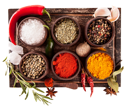 various-spices-background-transparent